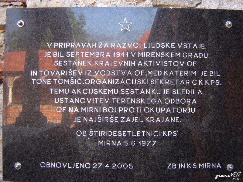 Spominska plošča, sestanek krajevnih aktivistov, september 1941